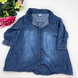 Old Navy Chambray Button Down Tunic Shirt Dress